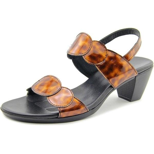 Munro American Solar Women Open-Toe Leather Bronze Slingback Heel
