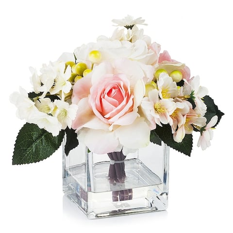Enova Home Mixed Artificial Silk Roses Fake Flowers Arrangement in Cube Glass Vase with Faux Water for Home Office Decoration