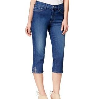 NYDJ NEW Dark Blue Women's Size 0X20 Capri Cropped Rhinestone Jeans