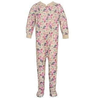 Mon Petit Baby Girls Ivory Zipper Unicorn Print Overall Footed Pajama