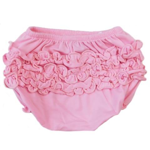 AnnLoren Girls Pink Knit Ruffled Butt Bloomer Baby/Toddler Diaper Cover