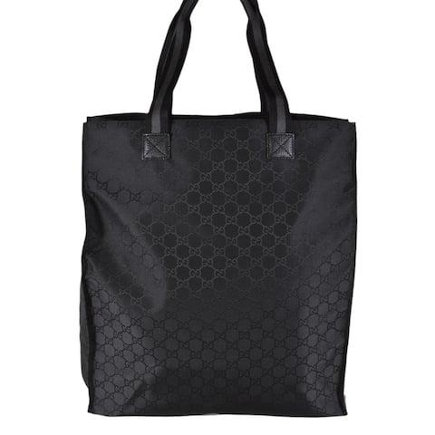 Gucci 449177 Black Nylon Tonal GG Guccissima Top Handle Tall Tote Bag Purse