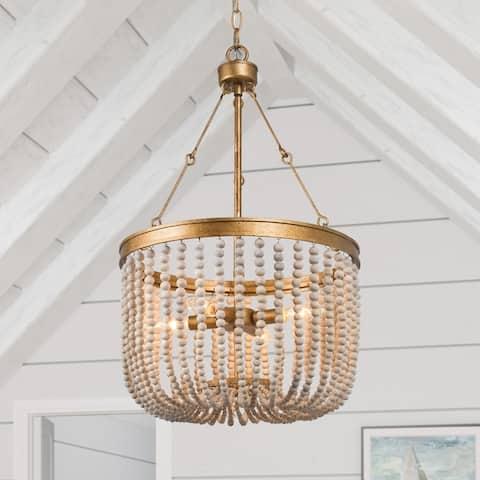 "Empire Glam Gold 4-Light Wood Beaded Chandelier Handmade Boho Coastal Style - D15.7"" x H26.7"""