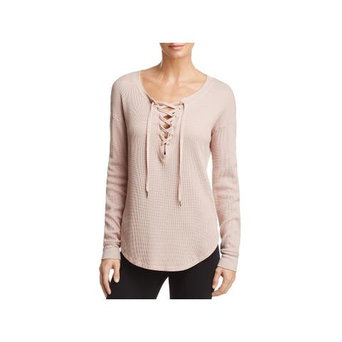 Splendid Womens Pullover Top Thermal Lace-Up