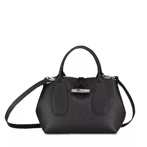 LongChamp Womens Black Roseau Small Tote Crossbody Handbag