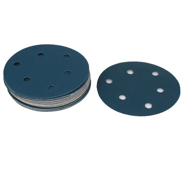 5 Sandpaper Auto Car Sanding Disc Hook And Loop Fastener 6 Holes 100 Grit 20pcs