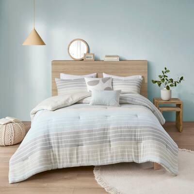 Brendon Woven Stripe Cotton Gauze Comforter Set by Urban Habitat