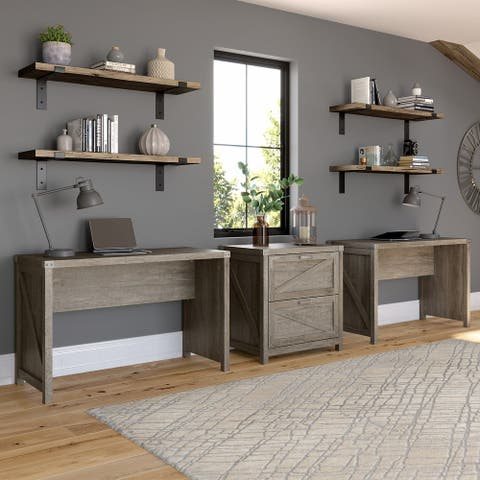 Cottage Grove 2 Person Desk Set with File Cabinet by Bush Furniture