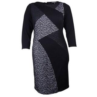 S.L. Fashions Women's Mix Media Textured Sheath Dress - 16