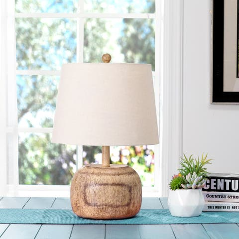 """Glitzhome 20""""H Polyresin Table Lamp with White Shade"""