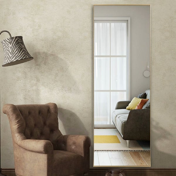 Modern Sleek Style Metal Frame Full-length Mirror Hanging or Leaning or Standing. Opens flyout.