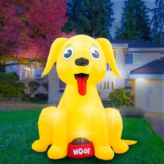 Holidayana 8-Foot Inflatable Big Dog Decoration, Includes Built-in Bulbs, Tie-Down Points, and Powerful Built in Fan