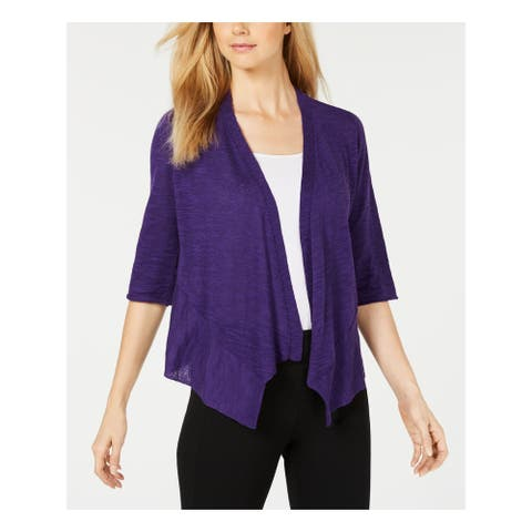ALFANI Womens Purple 3/4 Sleeve Open Cardigan Sweater Size XL