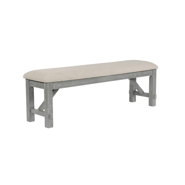 "Powell Home Fashions 457-260 Turino 60"" Wide Wood Framed Polyester Dining Bench - Grey Oak"