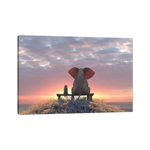"""iCanvas """"Elephant And Dog Watch The Sunrise On The Seashore"""" by Mike Kiev Canvas Print"""