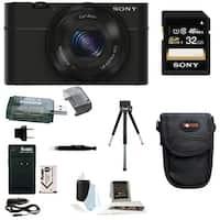 Sony RX100 Digital Camera w/ Point & Shoot Digital Camera Acc Bundle (Black)