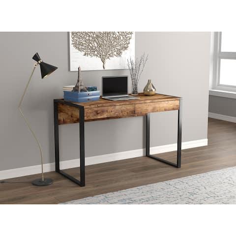 Computer Desk 47L Brown Reclaimed Wood 2 Drawers Black Metal