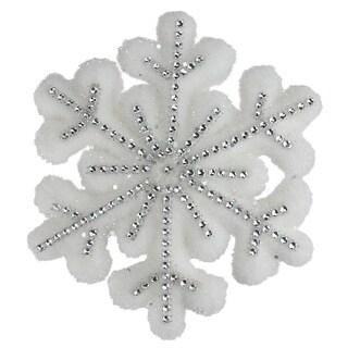 "6.75"" Winter's Beauty White Glitter Snowflake Hanging Christmas Decoration"