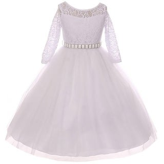 Classic Lace Pageant Wedding Flower Girl Dress White MBK 372