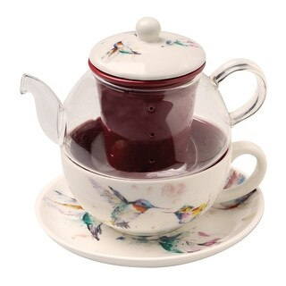 Demdaco Dean Crouser Hummingbirds Tea-For-One Set - Nesting 14 oz. Teapot, Cup, Saucer & Infuser - 6.75 in. x 6.75 in. x 6 in.
