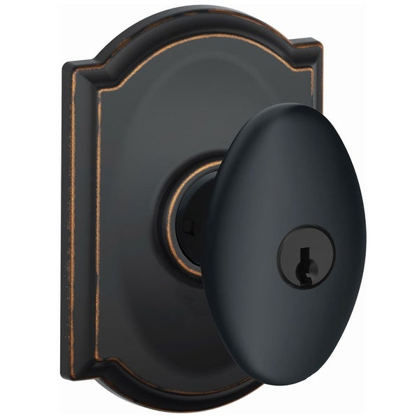 Schlage F51A-SIE-CAM Siena Single Cylinder Keyed Entry Door Knob Set with Decorative Camelot Trim - N/A
