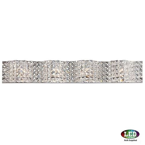 "Platinum PCAX8604LED Alexa 4 Light 33"" Wide Bathroom Vanity Light with Crystal Specialty Shades"