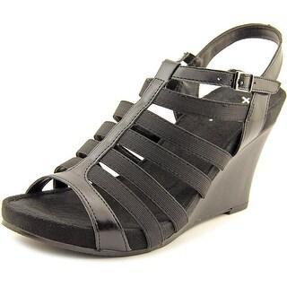 A2 By Aerosoles Magic Plush Women  Open Toe Synthetic Black Wedge Heel