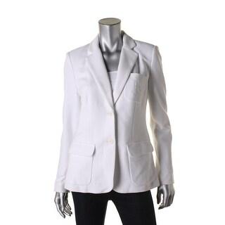 Lauren Ralph Lauren Womens Two-Button Blazer Textured Long Sleeves