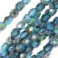 Czech Fire Polished Glass, Faceted Round Beads 4mm, 40 Pieces, Aqua Graphite Rainbow