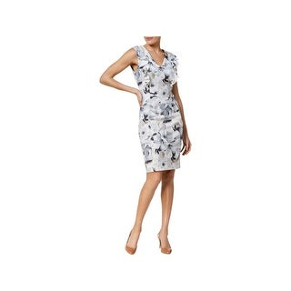 Calvin Klein Womens Wear to Work Dress Animal Print Ruffled