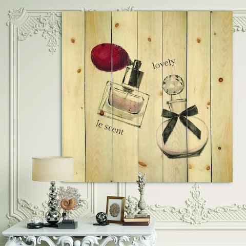 Designart 'Lovely Glamorous Parfum ' Traditional Bathroom Print on Natural Pine Wood - Red