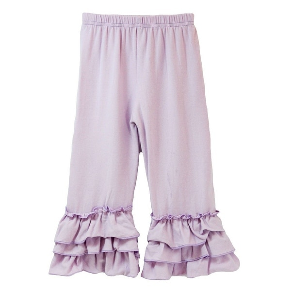 Baby Girls Lavender Triple Tier Waterfall Ruffle Cuff Soft Cotton Pants 1T