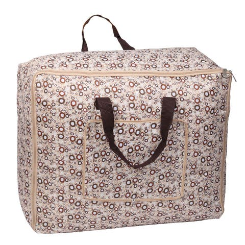 Circle Pattern Bed Sheets Quilt Storage Bag Container Beige Brown 60cm x 47cm