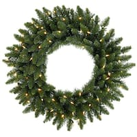 "24"" Pre-Lit Eastern Pine Artificial Christmas Wreath - Clear Lights - Green"