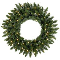 "36"" Pre-Lit Eastern Pine Artificial Christmas Wreath - Clear Lights - green"