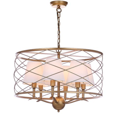 "SAFAVIEH Lighting Thea Adjustable 5-light Gold Pendant - 25.25""x25.25""x22-94"""