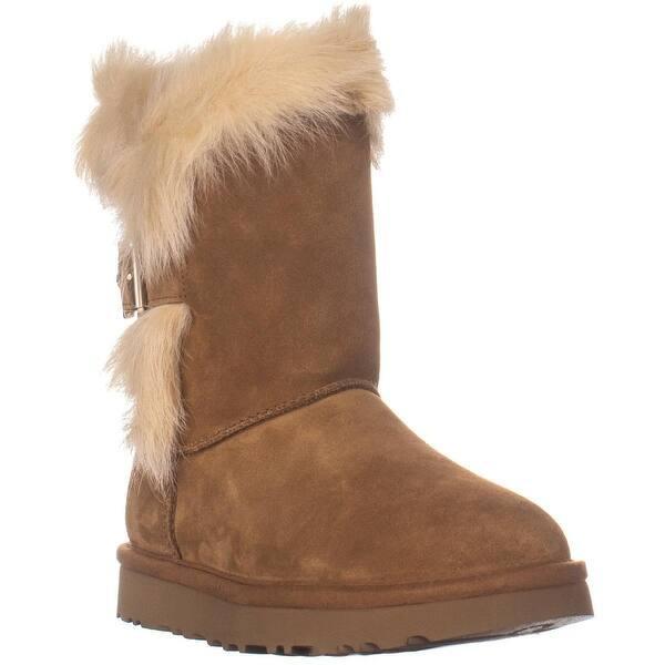 93483185c49 Shop UGG Deena Fur Cuff Mid Calf Boots, Chestnut - 6 US / 37 EU - On ...