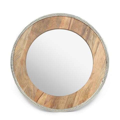 """Scio Boho Handcrafted Round Mango Wood Wall Mirror by Christopher Knight Home - 29.50"""" L x 1.00"""" W x 29.50"""" H"""