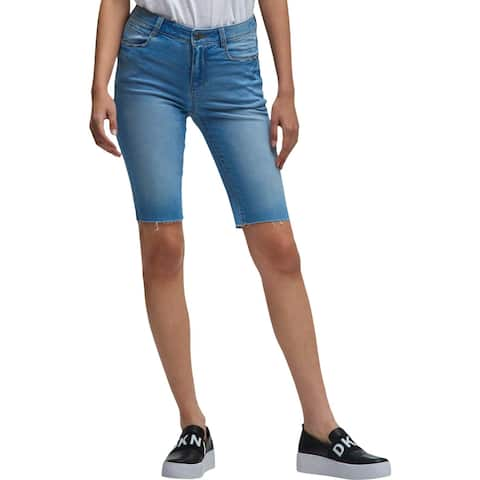DKNY Womens Denim Shorts Flat Front Studded