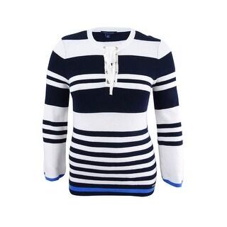 Tommy Hilfiger Women's Cotton Lace-Up Sweater - sky captain multi