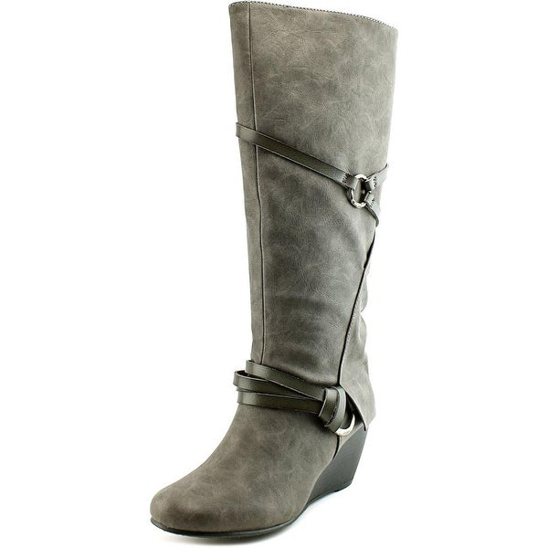 Blowfish Board Women Round Toe Synthetic Gray Knee High Boot