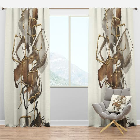 Designart 'Gold Glam Squares III' Modern Blackout Curtain Panel
