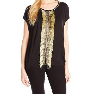 Elie Tahari NEW Black Women Size Medium M Tunic Fringe Scoop-Neck Shirt