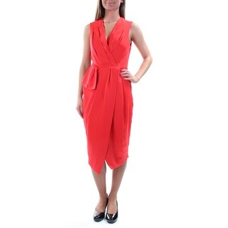 RACHEL ROY $139 Womens 1164 Red Sleeveless V Neck Midi Sheath Dress 0 B+B