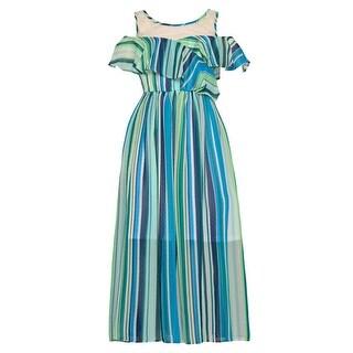 Bonnie Jean Girls Blue Green Stripe Ruffle Cold Shoulder Dress