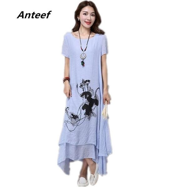 Shop Fashion Cotton Linen Plus Size Vintage Print Women ...