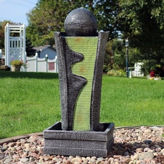 Sunnydaze Art Deco Rippling Stream Outdoor Water Fountain - 39-Inch Tall