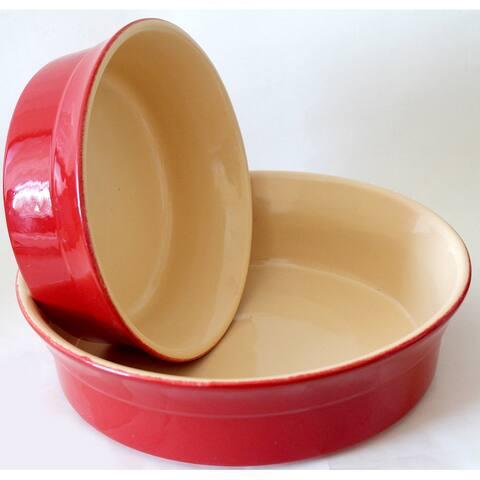 STP Goods Red Round-Shaped Stoneware Nonstick Baking Dish