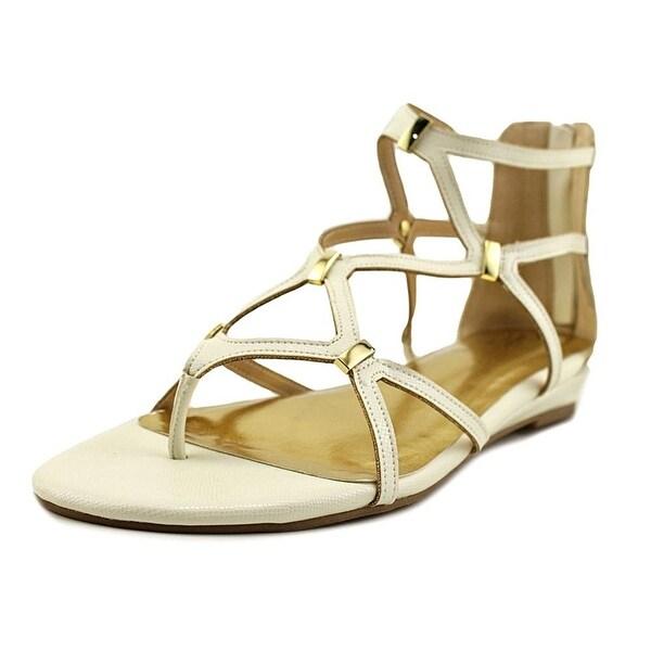 Thalia Sodi Pam Open Toe Synthetic Gladiator Sandal, White Lizard, Size 8.5