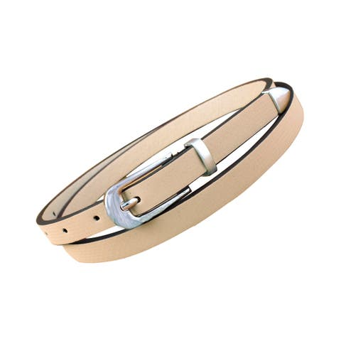 Lady Metal Keeper Arrow Tail Single Pin Buckle Slender Leather Belt Pink